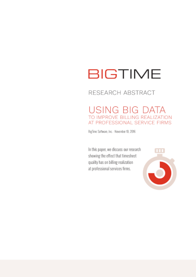 Study: Using Big Data in Professional Services Automation