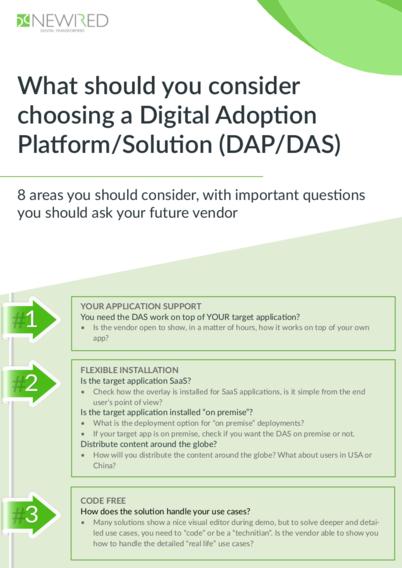 Digital Adoption Platform/Solution (DAP/DAS) Checklist
