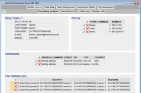 Masterdata screenshot