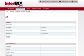 InterFAX screenshot