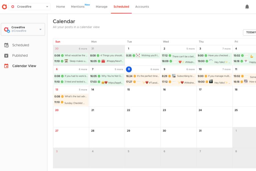 Crowdfire Schedule dashboard