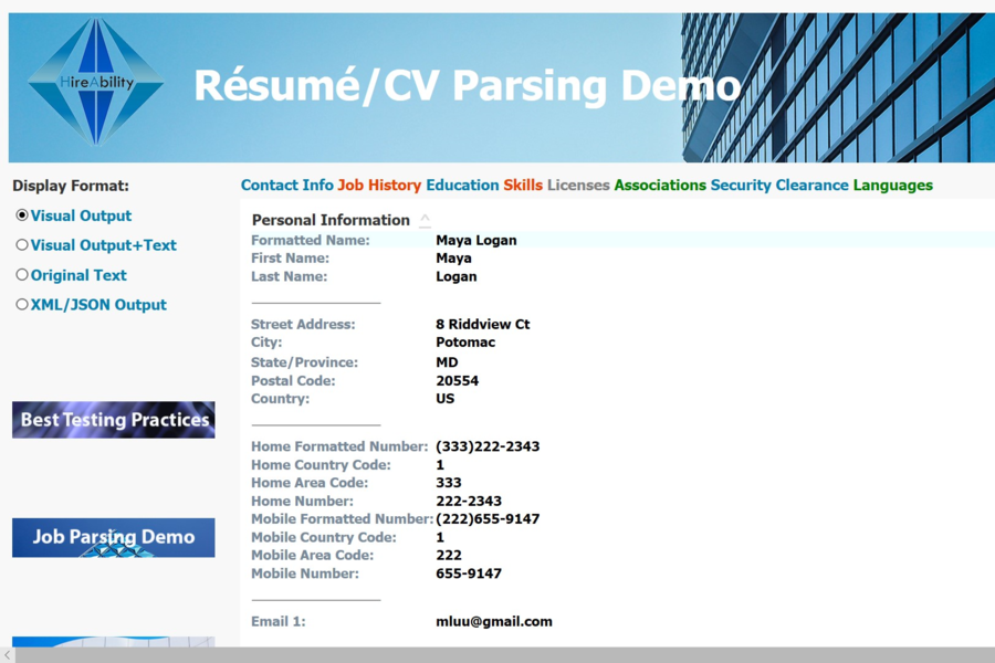 hireability resume parsing