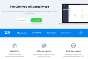 Simply CRM screenshot