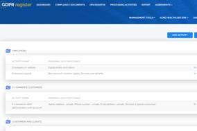 GDPR Register screenshot
