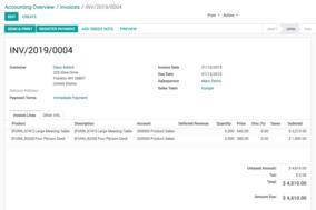 Odoo Accounting screenshot