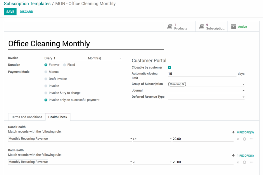 Odoo Subscriptions
